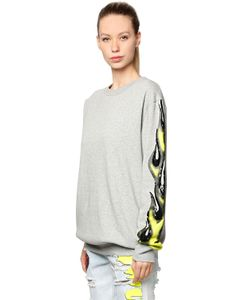 Filles A Papa | One Sleeve Sequined Flame Sweatshirt