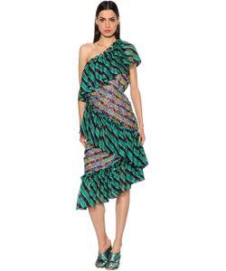 Marco De Vincenzo | Платье Из Шёлкового Шифона С Оборками И Вышивкой