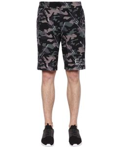 EA7 EMPORIO ARMANI   Camouflage Printed Cotton Shorts