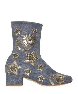 Chiara Ferragni | 40mm Sequin Stars Denim Ankle Boots