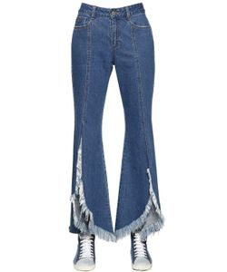 Steve J & Yoni P | Front Slit Frayed Cotton Denim Jeans