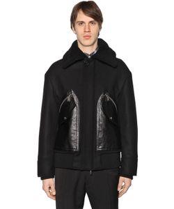 Dsquared2 | Куртка Из Шерстяного Фетра С Кожаными Карманами