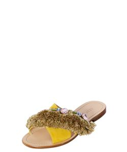 Gedebe | 10mm Fringes Embellished Slide Sandals