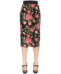 Dolce & Gabbana | Юбка-Карандаш Из Кади С Цветочным Принтом