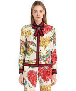 Gucci   Рубашка Из Шёлкового Креп-Кади С Цветочным Принтом