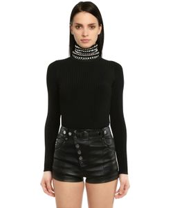 Alexander Wang | Ribbed Jersey Turtleneck W Crystals