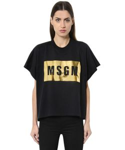 MSGM | Logo Printed Cotton Jersey T-Shirt