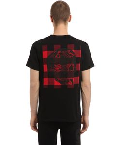 Hydrogen   Skull Check Cotton Jersey T-Shirt
