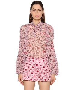 Giambattista Valli | Ruffled Printed Silk Georgette Blouse