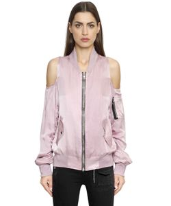 RTA | Cut Out Shoulder Satin Bomber Jacket