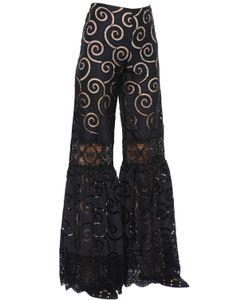 Alberta Ferretti | Embroide Poplin Macramé Lace Pants