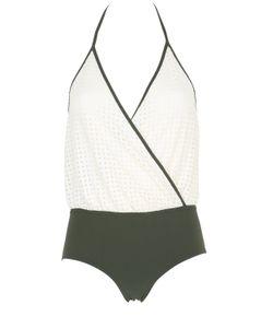 Albertine   Camarat Squares Olive Lycra Swimsuit