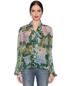 Dolce & Gabbana | Блузка Из Шёлкового Шифона С Принтом Гортензия
