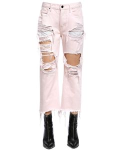 Alexander Wang | Cropped Destroyed Cotton Denim Jeans