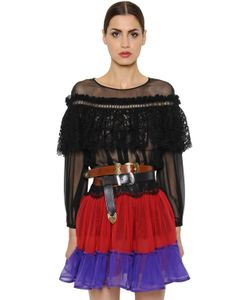 Alberta Ferretti | Silk Chiffon Macramé Lace Top