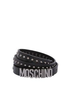Moschino | Кожаный Ремень С Заклёпками И Логотипом 20mm