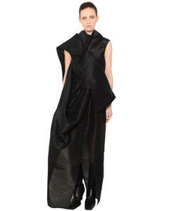 Rick Owens | Платье Из Плотного Шёлкового Тюля С Драпировкой