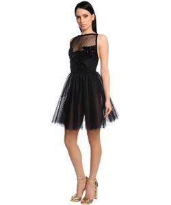 Elie Saab | Платье Из Тюля И Бархата С Вышивкой