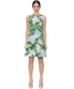 Dolce & Gabbana | Платье Из Полухлопковой Парчи С Принтом Гортензия