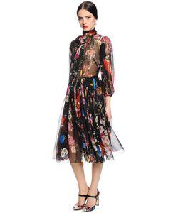 Dolce & Gabbana | Шифоновое Платье С Принтом Космос И Цветы