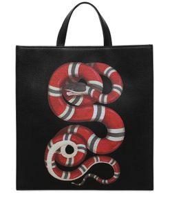 Gucci | Сумка Из Зернистой Кожи С Принтом Змея