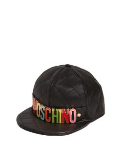 Moschino | Logo Lettering Quilted Leather Hat