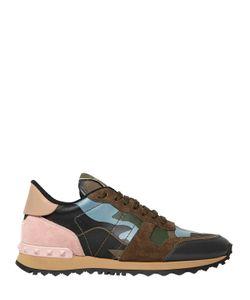 Valentino | Кроссовки Из Кожи И Замши С Камуфляжным Принтом