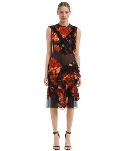 Givenchy | Платье Из Атласа Деворе С Оборками И Принтом