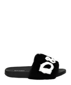 Dolce & Gabbana | Шлёпанцы С Кроличьим Мехом И Логотипом 20mm