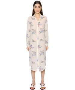Stella Jean | Long Sleeve Silk Crepe De Chine Dress