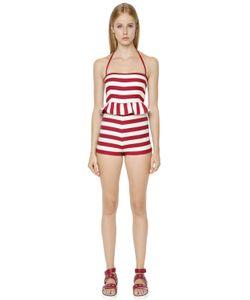 Red Valentino | Striped Beach Cotton Halter Jumpsuit