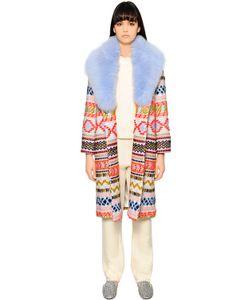 Giada Benincasa | Пальто Из Шерсти С Вышивкой И Лисьего Меха