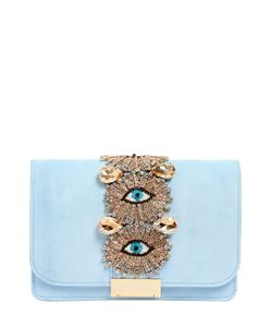 Gedebe | Embellished Eyes Suede Clutch