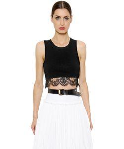 Alberta Ferretti | Cotton Jersey Lace Crop Top