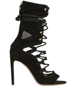 Alexandre Vauthier | 100mm Suede Mesh Lace Up Booties