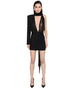 Saint Laurent | Платье Из Шерстяного Габардина И Шифона