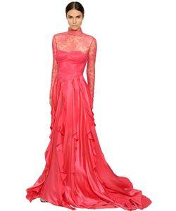 Francesca Piccini | Платье Из Шёлкового Атласа И Вискозного Кружева