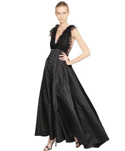 Francesca Piccini | Платье Из Шелкового Атласа С Кружевом