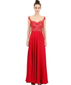 Reem Acra | Платье Из Шелкового Крепа С Вышивкой