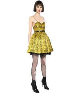 Saint Laurent | Платье Из Саржи С Леопардовым Принтом