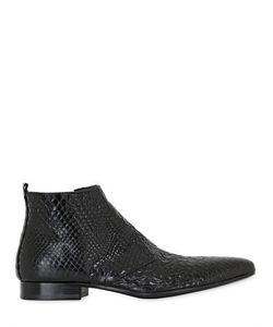 JO GHOST | Кожаные Ботинки С Питоновым Принтом Ручная Работа