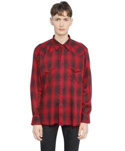 Saint Laurent | Рубашка Из Вискозы В Клетку