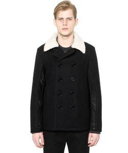 Maison Margiela | Шерстяное Пальто С Искусственным Мехом