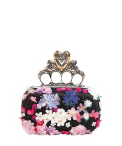 Alexander McQueen | Flower Appliqués Knuckle Box Clutch