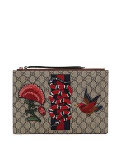 Gucci | Клатч С Принтом Gg Supreme И Нашивка Змея
