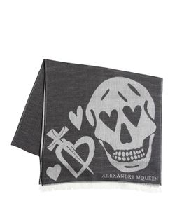 Alexander McQueen | Heart Skull Wool Blend Jacquard Scarf