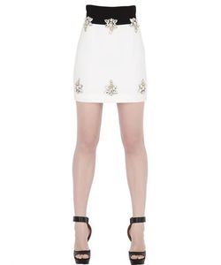STEFANO DE LELLIS | Two Tone Embellished Crepe Mini Skirt