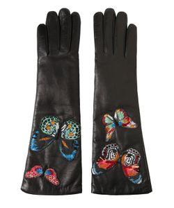 Valentino   Кожаные Перчатки С Вышивкой Бабочки