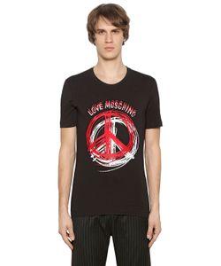 Love Moschino | Футболка Из Стретч Джерси С Принтом Peace Sign