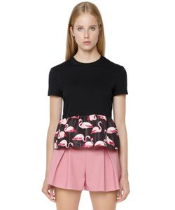 Red Valentino | Cotton Flamingo Print Faille Top